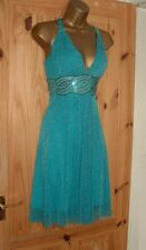 Jane Norman blue silver grecian floaty sparkly summer party dress size 12 14