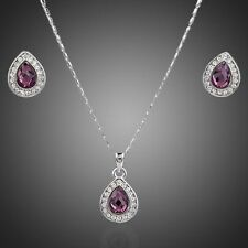 Gold Plated Crystal Swarovski Element Purple Jewellery Set Necklace Earrings