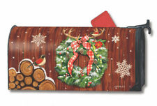 Cozy Cabin Wreath Winter Magnetic Mailbox Cover Logs Snowflakes MailWraps