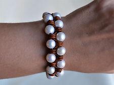 Pearl Leather Handwoven Cuff Bracelet Boho Handmade Fashion Jewelry 7.5'' Yevga