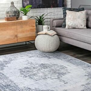 Floor Rug Gray Floral Persian Distressed Traditional Vintage Carpet Mat 5 Sizes