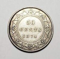 Canada 1874 Newfoundland Silver 50 Cents Half Dollar Coin