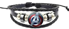 Domed Braided Leather Bracelet The Avengers Logo Glass