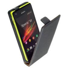 Premium Leder Flip-Style Case f Sony Xperia M c1904 c1905 Etui Tasche schwarz
