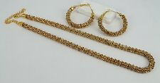 Golden Brown Ethnic Wedding Indian New Jewelry Necklace Set Hoop Earring