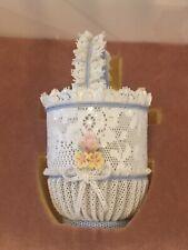More details for rare lladro cestillo tul azul lace style basket