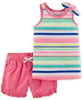Carter's Baby Girls 2-Pc. Striped Cotton Top and Shorts Set Size Nb, 3 MO, 6 MO