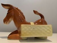 RARE!  Vintage Kneeling Donkey Planter, Huge Ears,Hand Painted. So Adorable!