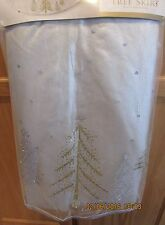 """Donner & Blitzen 52"""" Christmas Tree Skirt Silver w/ Gold & SiIlver Trees - NWT!"""