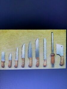 DOLLHOUSE MINIATURE COLLECTIBLE Artist Handcrafted Real Steel & Rosewd Knife Set