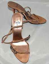 Paolo Gold w/ Copper Heels Rhinestone Buckles Anckle Straps Strappy Shoe Sz 7.5M