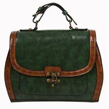 Banned Vintage Retro 50s Rockabilly Stevie Handbag Green Brown Shoulder Bag