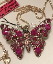 Betsey Johnson Maroon Enamel Crystal Butterfly Pendant Chain Necklace NWT