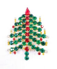 "(W) 3"" PRONG SET GREEN RED RHINESTONE HOLIDAY CANDLE CHRISTMAS TREE BROOCH PIN"