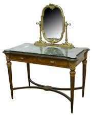 Vintage Vanity, Italian, Mirrored Marble-Top Dressing Table, Mid Century, 1900's