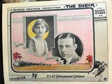 The Sheik 1921 Paramount silent lobby card Rudolph Valentino Agnes Ayres