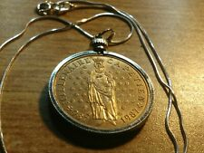 "1987 French King of the Franks, 10 Franc Pendant on an 18"" Italian Silver Chain"