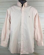 Polo by Ralph Lauren Yarmouth Peach Striped Mens Dress Shirt Long Sleeve