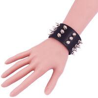 PU Leather Punk Bangle Metal Rivet Spike Bracelet Wrist Band Black Gothic Rock D