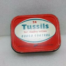 VINTAGE--24 TUSSILS FOR DOUBLE ACTION COUGH CONTROL TIN--BOOTS--COLLECTORS
