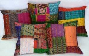 "Cushion Cover Silk Brocade Indian Throw Pillow Handmade Decor Pillow Case 16x16"""