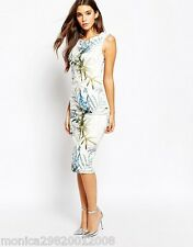 TED BAKER TWIGHTIGHT FLORAL FITTED BODYCON DRESS SIZE 3 UK12 EUR38 US8