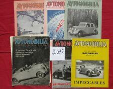 N° 2075 /  5 Revues  AUTOMOBILIA  1937-1939  BUGATTI  DELAHAYE  PEUGEOT RENAULT