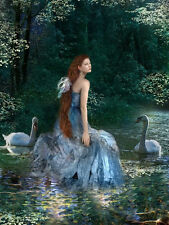 Oil painting beautiful young girl with swans in stream landscape free shipping