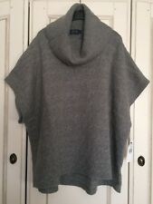 BNWT Polo Ralph Lauren Grey Cable Knit Poncho, Merino Wool & Cashmere Mix
