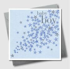 Baby Boy Greetings Card Blue Flower Birthday Shower Grand Son Embossed UK