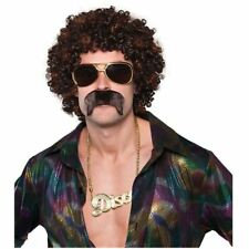 Adult Mens 1970s 70s Disco Dude Hound Afro Wig Tash Kit Fancy Dress Accessory