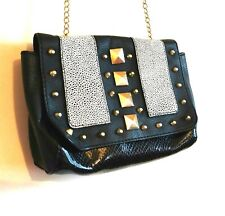 VGC H&M Black Small Shoulder Bag Gold Accent Chain Studded Patchwork Party