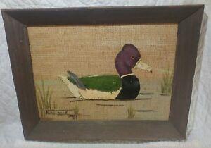 Org Vintage 70s Framed Burlap Duck- Folk Art- Polly Munden- Knotts Island NC- 1
