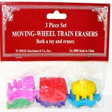 TRAIN ERASER SET Mint Toy /Factory Sealed 3-Piece MOVING Wheels! Shackman