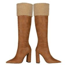 Retro Women's Winter Block High Heel Suede Fabric Pointed Toe Mid-Calf Boots L