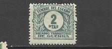 0160-SELLO FISCAL RECARGO TRANSITORIO DE GUERRA ** AÑO 1938 N7 EDIFIL .2 PESETAS