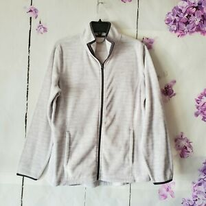 Unbranded Off White Fleece Grey Trim Full Zip Activewear Jacket Womens Size XL