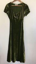 L K BENNETT SILK VELVET FIT FLARE EMERALD GREEN PINK DOT DRESS UK 10 EU 38 A43