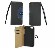 Black/Blue Faux Leather Case Book Cover For Samsung S8530