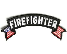 "(B11) FIREFIGHTER U.S. FLAG  4"" x 1.5"" iron on rocker patch (3683)"