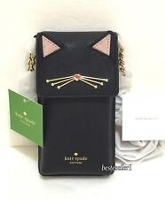 New Kate Spade Leather North South Phone Wallet Cat Crossbody Bag Black 8ARU2509