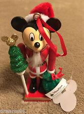 Santa Disney Mickey Mouse Red Nutcracker Christmas Wood Ornament  NWT