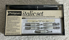 New Vtg Platignum Italic Set Left Hand 1 Fountain Pen & 5 Nibs England Vintage