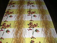 VINTAGE 50 S GRANDE cotone paglia a righe Bianco Giallo Floreale Tessuto Tenda di lunghezza