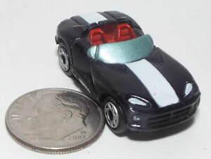 Small Micro Machine Dodge Viper Convertible in Black with a White Stripe