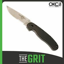 Ontario Knives Folder Knife G-10 Handle Rat 1 Partially Serrated Satin Finish