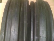 TWO New 4.00-8 Deestone D401 Tri-rib 3 Rib Tires w/ Tubes 4 ply Lawn Tractor