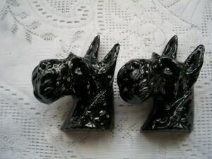 2 Vintage Sylvac England Ceramic Black Scottie Dogs Wall Plaque #891 or #89