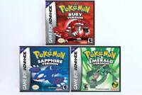 Pokemon Ruby Sapphire Emerald Custom Game Cases *NO GAME* (Game Boy Advance GBA)