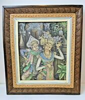 Artist Signed Lanus Vintage Original Ubud Balinese Framed Painting Bali 13 x 15